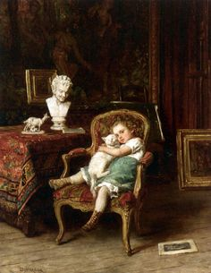 Théophile Emmanuel Duverger (French artist, - Best Friends - Oil on panel Lawrence Alma Tadema, Munier, Pot Pourri, Old Paintings, Classical Art, Vintage Cat, Vintage Artwork, French Artists, Beauty Art