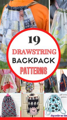 Learn how to sew a drawstring backpack with this collection of 19 tutorials and sewing patterns. A DIY drawstring backpack is an easy beginner sewing project.A drawstring bag is quick and easy to make and creates a cute backpack that's versatile and perfect for anyone as a grab-and-go bag. Check out this collection of 19 different drawstring backpack patterns and styles to find the right one for you. Sewing For Beginners Diy, Sewing For Dummies, Sewing Basics, Easy Sewing Patterns, Sewing Tutorials, Drawstring Backpack Tutorial, Learn To Sew, How To Make, Backpack Pattern