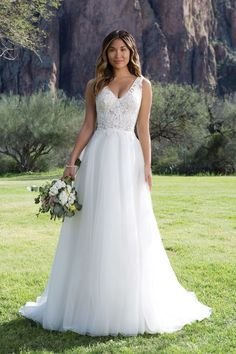 Justin Alexander, Sweetheart Gowns - Style 1137: Illusion Beaded Lace Bodice with Tulle Skirt Gown