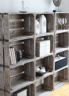 Distressed milk crates book self - perfect for the Wimbledon IV Model Townhome in West Pointe Village by Claridge Homes  http://claridgehomes.com/homes/westpointe/