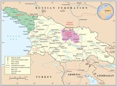 Map of Georgia highlighting Abkhazia (green) and South Ossetia (purple). Taken by United Nations Cartographic Section