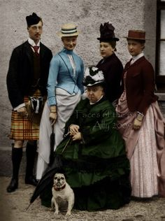 "Queen Victoria with some of her numerous descendats:    Prince Albert Victor ""Eddy"", Princess Alix of Hesse (future Russian Empress), Princess Beatrice and Princess Irene of Hesse."