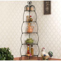 Scrolled Black Corner Etagere | Overstock.com Shopping - Great Deals on Upton Home Media/Bookshelves