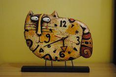 Katze Uhr - Tischuhr - Designer Uhr - Tischuhr - Pappmaché