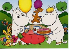 Moomin, Snork maiden and Sniff with a balloon