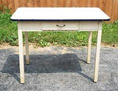 Vtg ENAMEL TOP KITCHEN TABLE porcelain top mid century chic wooden shabby 40s