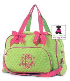 TOO CUTE LIME WITH HOT PINK QUILTED BOWLER DUFFLE....with monogram, of course!   www.misslucysmonograms.com
