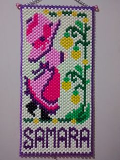 FAIRY IN AN APPLE BASKET BEADED BANNER PDF PATTERN ONLY