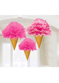 Ice Cream Cone Tissue Fluffs 3pk