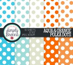 Polka Dot Digital Paper Pack - Polka Dots - Aqua and Orange - Personal & Commercial Use INSTANT DOWNLOAD SimplyBrenna 2.00 USD
