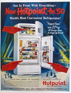 1950s Vintage REFRIGERATOR HOT-POINT Magazine Advertisement Atomic Age Appliance Ads Original Advertising Retro Kitchen Ad Wall Decor