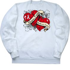Lung Cancer Hope Faith Dual Hearts Crewneck Sweatshirt - White | Cancer Shirts | Disease Apparel | Awareness Ribbon Colors