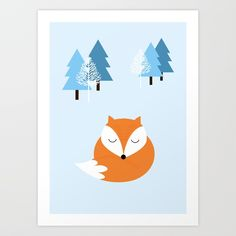 Buy Sweet dreams with fox Art Print by justynapszczolka. Worldwide shipping available at Society6.com. Just one of millions of high quality products available.