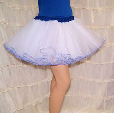 9d8ba328f2aaa White and Navy Blue Piped Costume TuTu Crinoline Skirt MTCoffinz --- Adult
