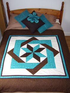 Puzzle Quilt - 1 large square!! Love the teal, dark brown and white!!
