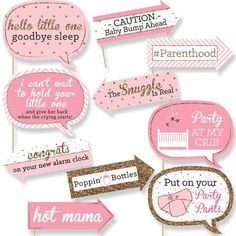 Funny Hello Little One - Pink and Gold - Photo Booth Props - Baby Shower Photo Booth Prop Kit- 10 pc