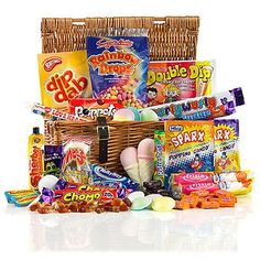 This smart little sweet hamper is brimming with retro sweets. Choose from a large selection of sweet hampers Retro Sweet Hampers, Traditional Hampers, Hampers Uk, Birthday Hampers, Chocolate Hampers, Wicker Hamper, Retro Sweets, Fortnum And Mason, Silver Gifts