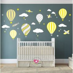 Enchanted Interiors Premium Self Adhesive Fabric Nursery Wall Art  Hot Air Balloons and Jets in Yellow and Grey Nursery Decor