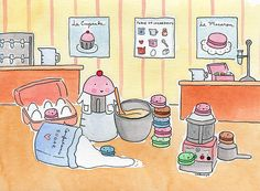 Custom order, Cuppie bakes with macarons by cakespy, via Flickr