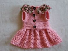 CROCHETED PET DOG CLOTHES APPAREL SWEATER DRESS COAT BABY PINK XS!!