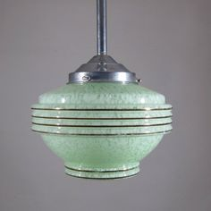 Vintage FrenchArt Deco Ceiling Fixture, Chandelier, GreenGlass Globe Shade