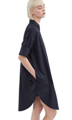 Acne Studios Lash tech pop navy Gewaschenes Hemdblusenkleid aus Popeline
