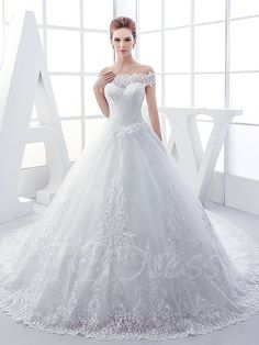Tbdress.com offers high quality Off-The-Shoulder Lace Chapel Ball Gown Wedding Dress Latest Wedding Dresses unit price of $ 249.99.