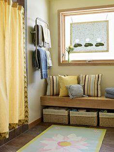 I love this bathroom because of the serene feeling and soft colors of buttery yellow and blues.