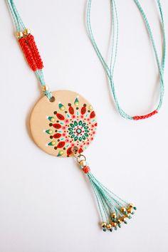 Hand painted leather pendant. Adjustable. Boho por vickygonart, $59.00