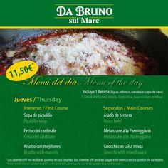Menú del día / Menú of the day  11,50€ dos platos una bebida   www.dabruno.com