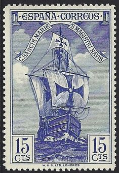 """Spain Scott #424 (29 Sep 1930) Bow of Santa María. This stamp is in a set of 16 (Scott #418-32, E8) in tribute to Christopher Columbus.      The stamps were privately produced and the Spanish Postal Authorities placed them on sale for only three days. There are many so-called """"errors"""" of color & perforation.:"""