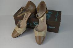 #Ferragamo #Classic #Vintage #Bone #Taupe #Leather #Strap #Pumps #Heels #Hipster  #7AAA #SalvatoreFerragamo #Heels#7#AAA