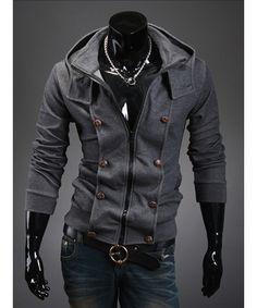 Dark Grey Korean Men Fashion Hoodie Slim Fitting Business Zipper Jacket M/L/XL/XXL 1414WY18dg : $33.42 in Maxnina.com.