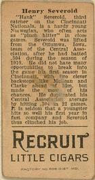 1912 Brown Backgrounds T207 #165 Hank Severeid Back