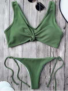 $12.99 Ribbed Knotted String Bralette Bikini - ARMY GREEN M