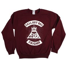 Maroon Chicago City Crewneck Fall Out Boy chicago city design on a unisex maroon crewneck sweatshirt. $45.00