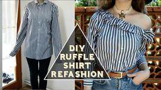 DIY Ruffle One-Shoulder Shirt/ DIY volánová košeľa (SK,EN)