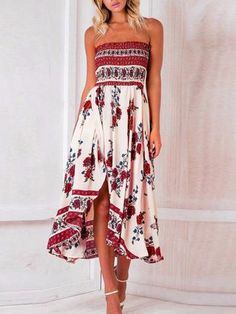 241087b5109a87 Beautiful White Floral Strapless Elastic Waist Front Split Bohemia Maxi  Dress Floral Sundress