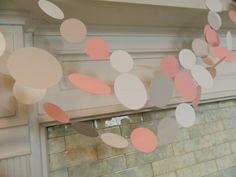 Paper Garland 10ft - White Pink and Gray Baby Shower Decorations Wedding Decor Photo Prop Bridal Shower Decor. $12,00, via Etsy.