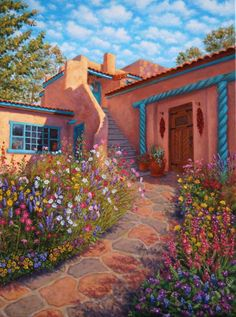 Courtyard Garden In Taos Painting  - Courtyard Garden In Taos Fine Art Print  For handsome western and southwestern furnishings, visit Lights in the Northern Sky www.lightsinthenorthernsky.com