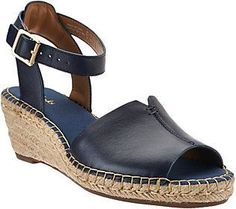 Clarks As Is Artisan Leather Espadrille Wedge Sandals