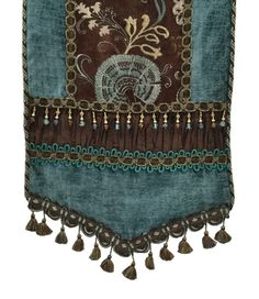 Old World-table_runner-turquoise_brown_chenille-beads-tassel_fringe-reilly_chance_collection