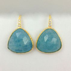 #Aquamarine #Diamond Earrings | D&H #Sustainable Jewelers #Earth #Friendly #Unique