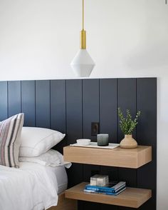Isn't this beautiful? All custom design by photographed by including our Aurora Pendant in brass. Modern Bedroom Design, Contemporary Bedroom, Home Interior Design, Home Bedroom, Bedroom Wall, Bedroom Decor, Master Room, New Room, House Design