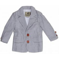Tom and Drew's signature seersucker blazer in grey and white  100% Cotton- We have