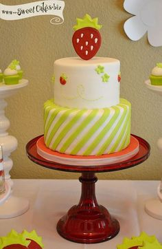 Cute Strawberry Topper Striped Birthday Cake