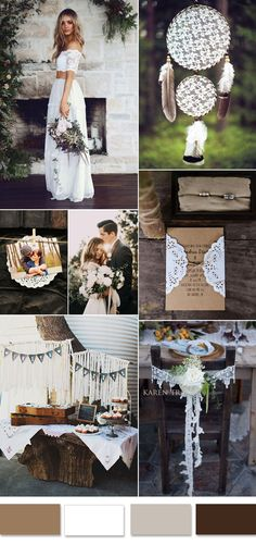 brown and lace boho wedding ideas
