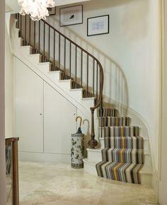 Roger oates runner - chatham multi interiors - area rugs & c Entryway Flooring, Grey Flooring, Entryway Decor, Narrow Entryway, Small Entry, Yellow Stairs, Apartment Entry, Wooden Stairs, Wooden Staircases