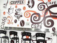 Vinilo decorativo. Cafetería. Fernando Urrea Diseñador. DECORACIONES MONARCA.  Facebook: http://www.facebook.com/decoracionesmonarca Pagina web: http://www.decoracionesmonarca.net  Fotos: http://www.flickr.com/photos/decoracionesmonarca  http://pinterest.com/monarcadecora/ Celular. 312 3 71 70 19. Bogota, Colombia.