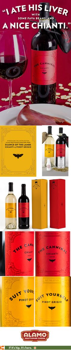 Silence Of The Lambs Wines! Chianti & Pinot Grigio for Alamo Drafthouse Cinemas with label designs by Helms Workshop.